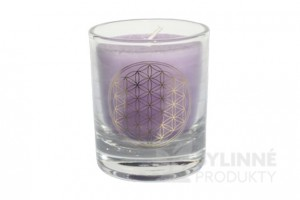 Čakrová sviečka – fialová mini
